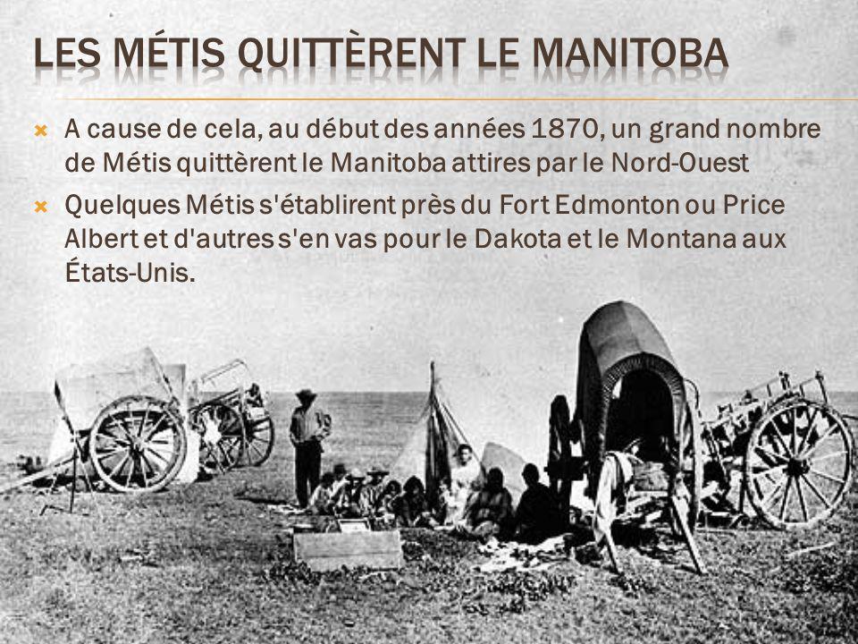 Les Métis Quittèrent le Manitoba