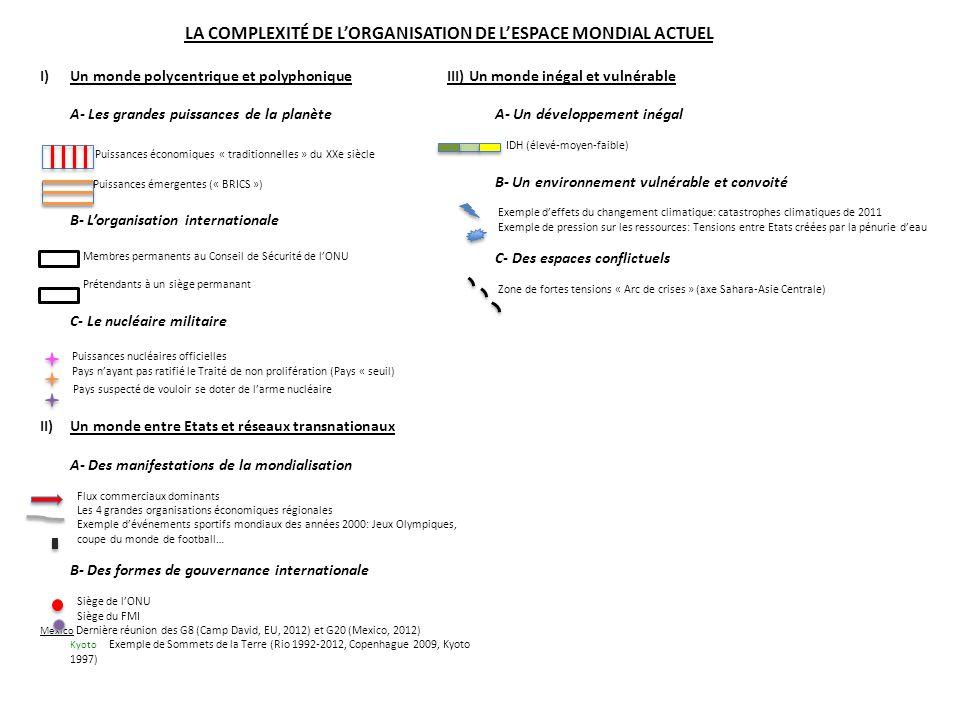 LA COMPLEXITÉ DE L'ORGANISATION DE L'ESPACE MONDIAL ACTUEL