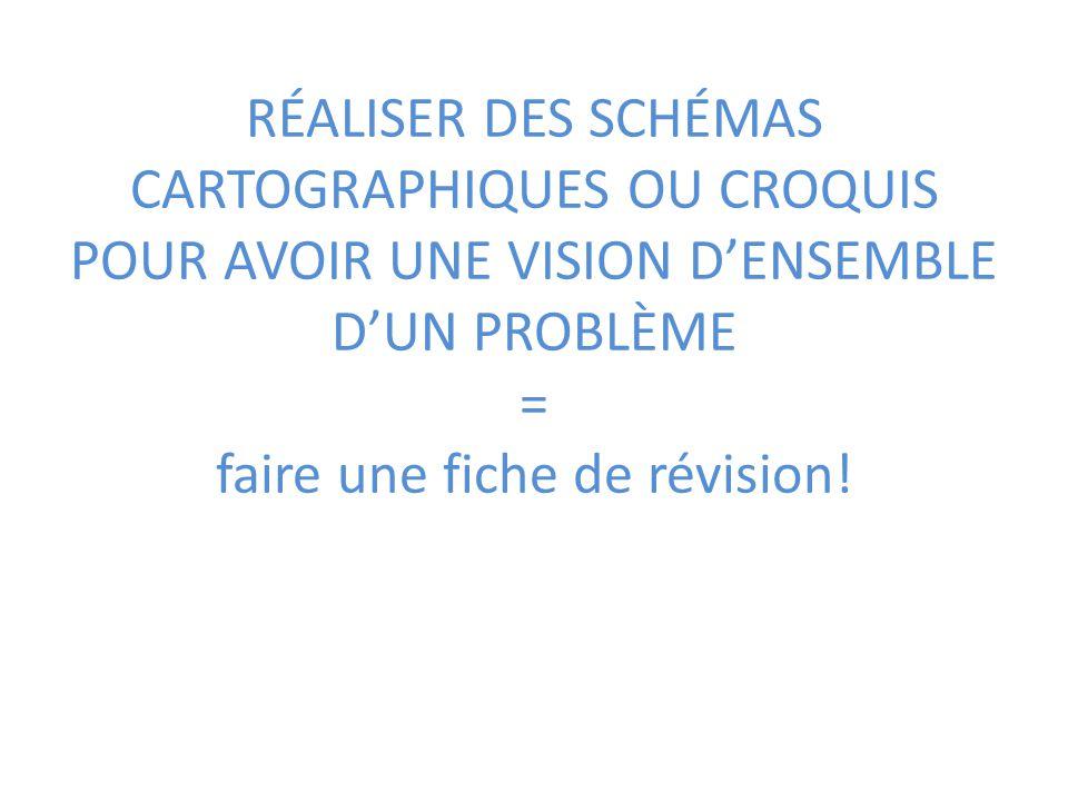 RÉALISER DES SCHÉMAS CARTOGRAPHIQUES OU CROQUIS POUR AVOIR UNE VISION D'ENSEMBLE D'UN PROBLÈME = faire une fiche de révision!