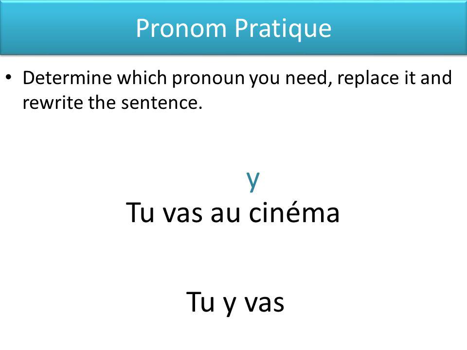 y Tu vas au cinéma Tu y vas Pronom Pratique