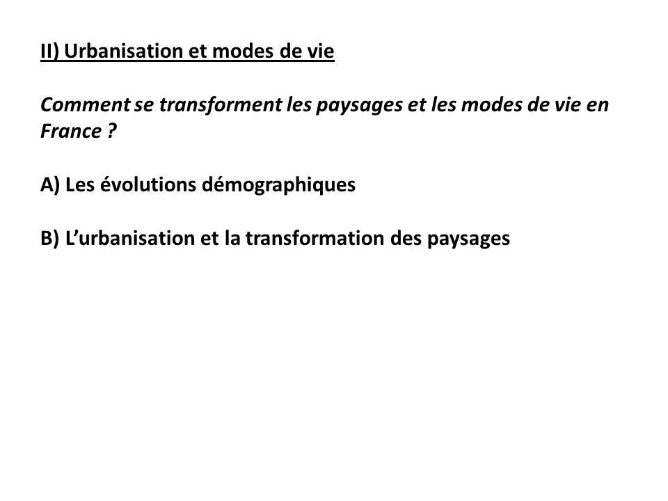 II) Urbanisation et modes de vie