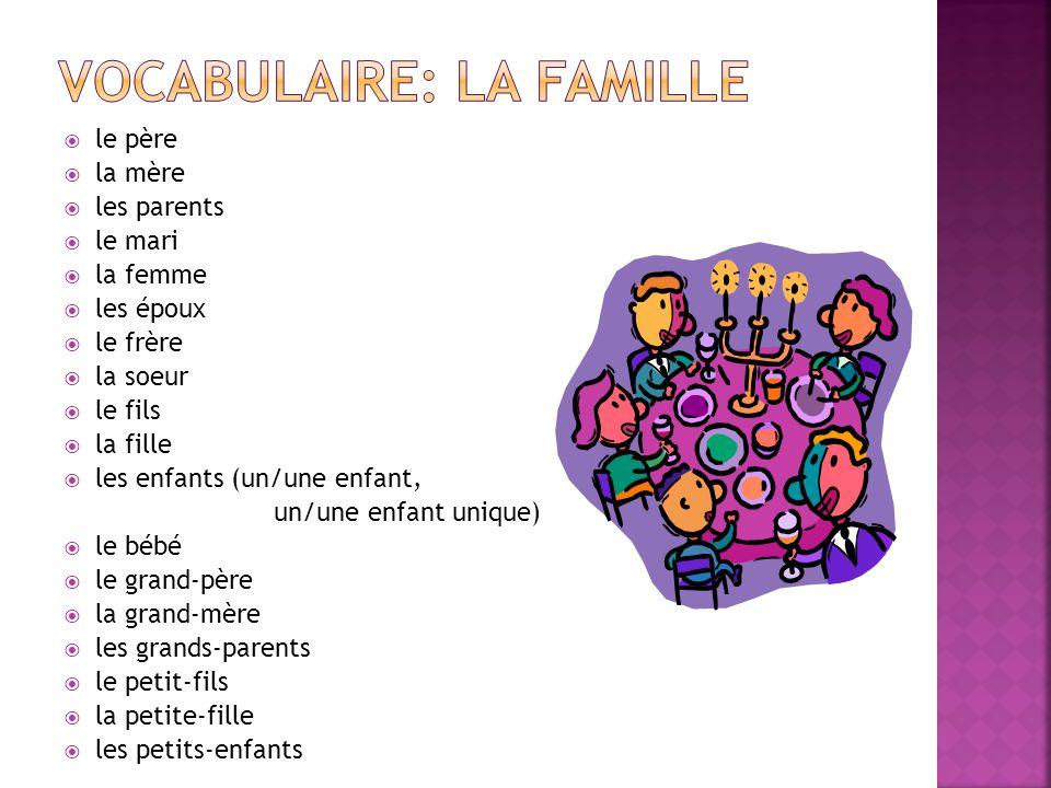 Vocabulaire: la famille