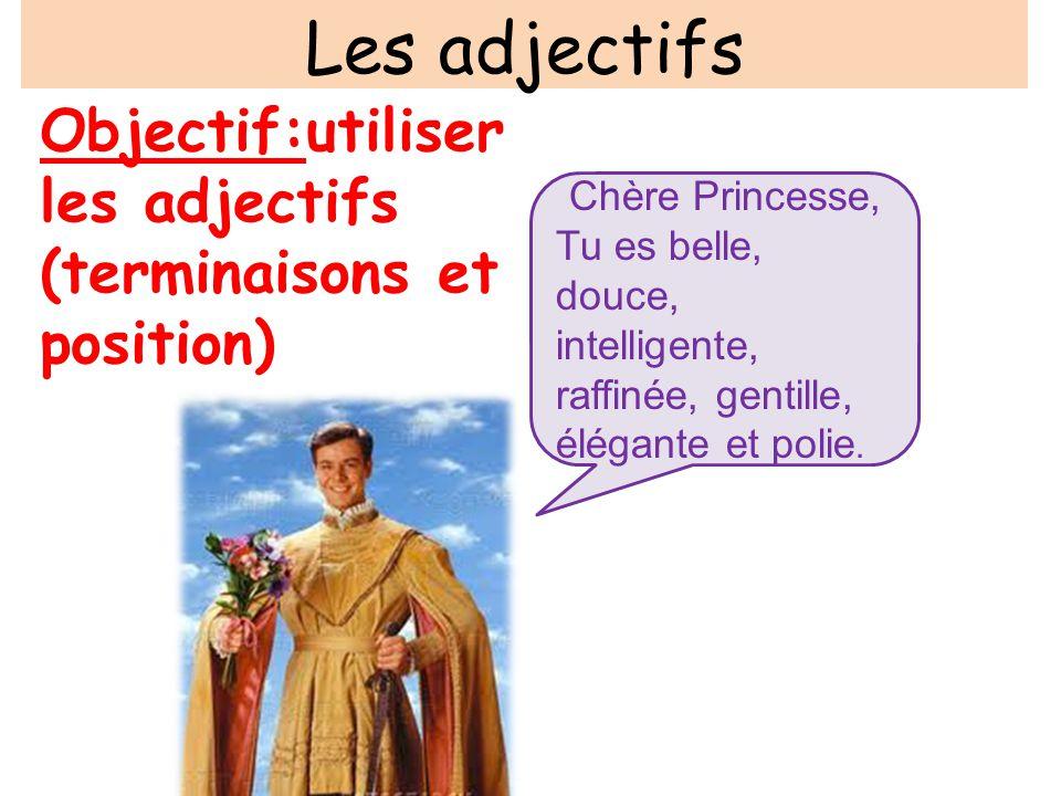 Les adjectifs Objectif:utiliser les adjectifs (terminaisons et position) Chère Princesse,