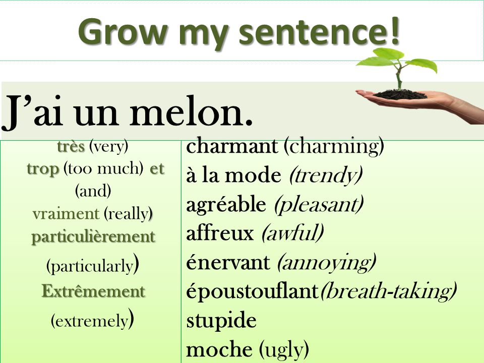 J'ai un melon. Grow my sentence! charmant (charming)