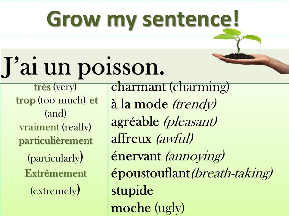 J'ai un poisson. Grow my sentence! charmant (charming)