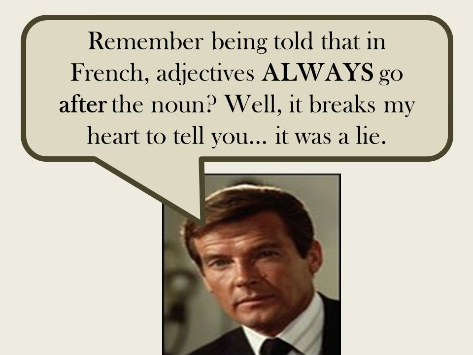 Remember being told that in French, adjectives ALWAYS go after the noun.
