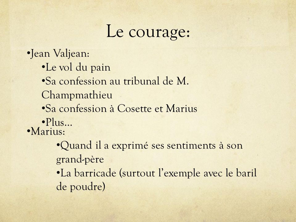 Le courage: Jean Valjean: Le vol du pain