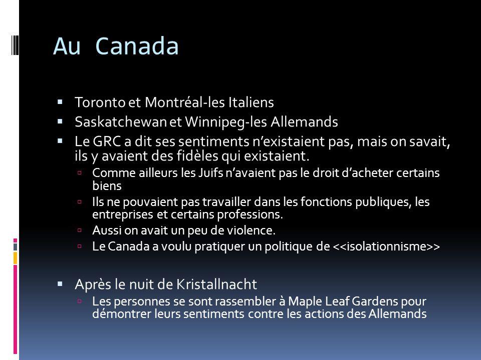 Au Canada Toronto et Montréal-les Italiens