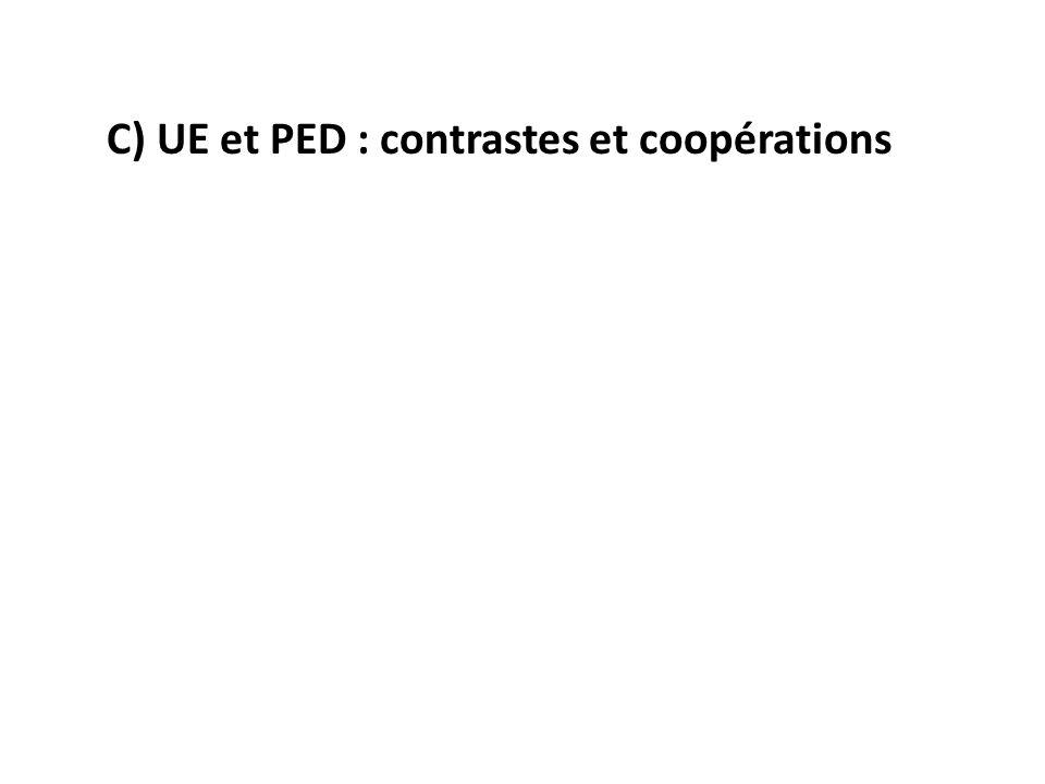C) UE et PED : contrastes et coopérations