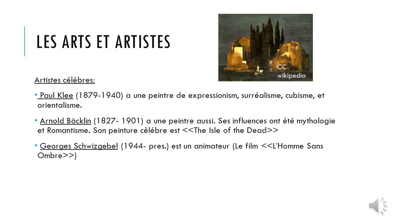 Les arts et artistes Artistes célèbres: