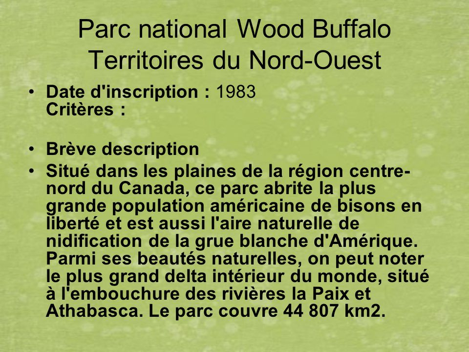 Parc national Wood Buffalo Territoires du Nord-Ouest