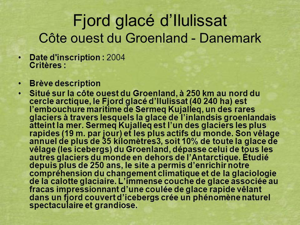 Fjord glacé d'Ilulissat Côte ouest du Groenland - Danemark