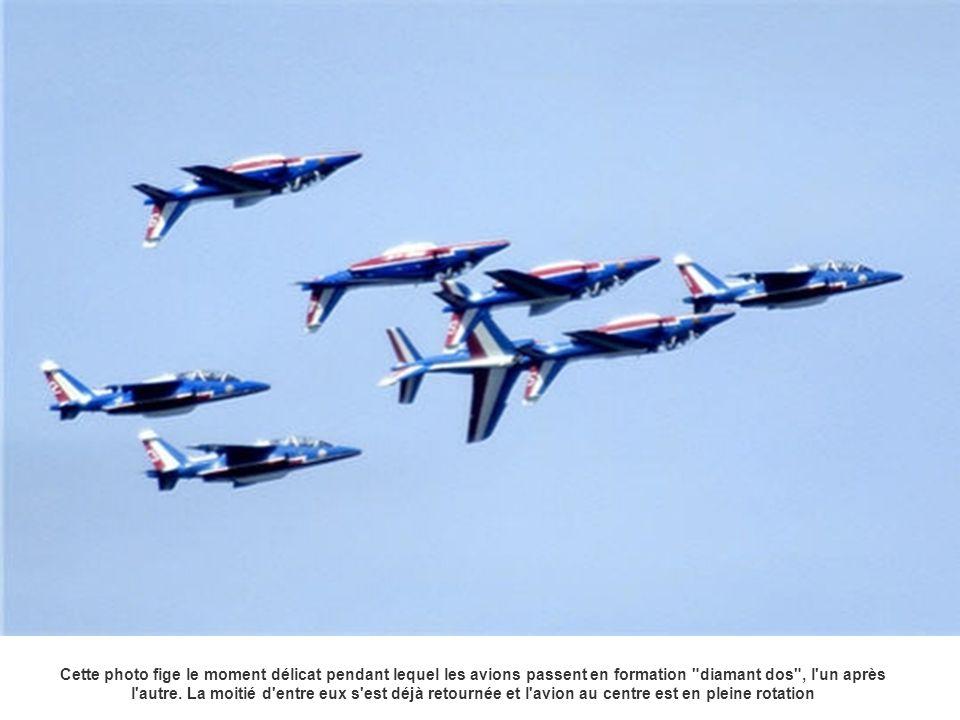 Cette photo fige le moment délicat pendant lequel les avions passent en formation diamant dos , l un après l autre.