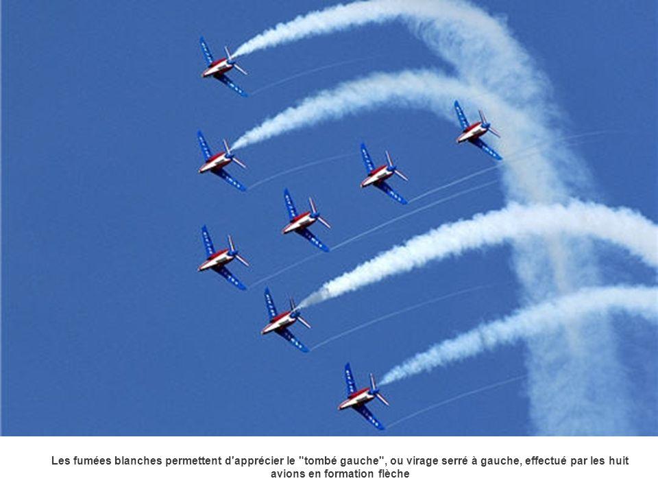 Les fumées blanches permettent d apprécier le tombé gauche , ou virage serré à gauche, effectué par les huit avions en formation flèche