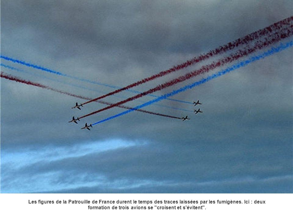 Les figures de la Patrouille de France durent le temps des traces laissées par les fumigènes.