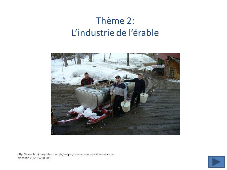 Thème 2: L'industrie de l'érable