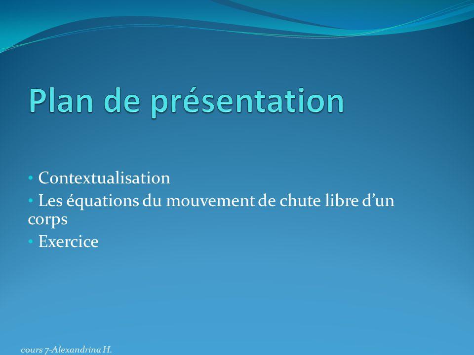 Plan de présentation Contextualisation