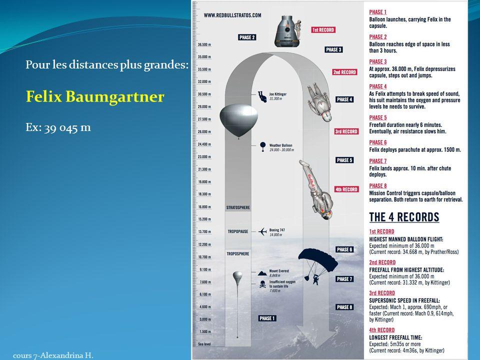 Felix Baumgartner Pour les distances plus grandes: Ex: 39 045 m
