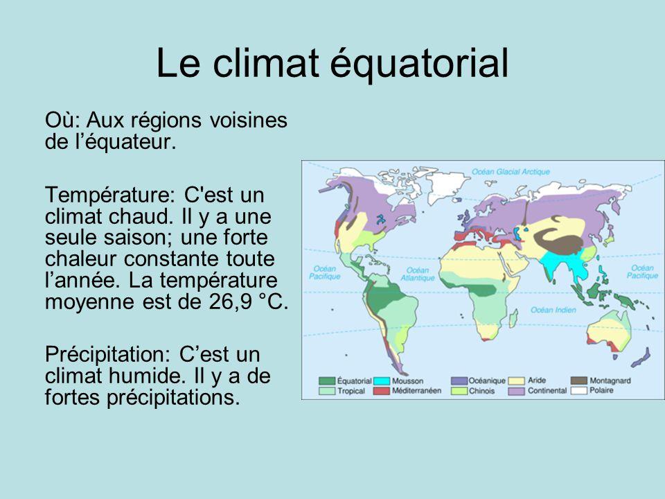 Le climat équatorial Où: Aux régions voisines de l'équateur.