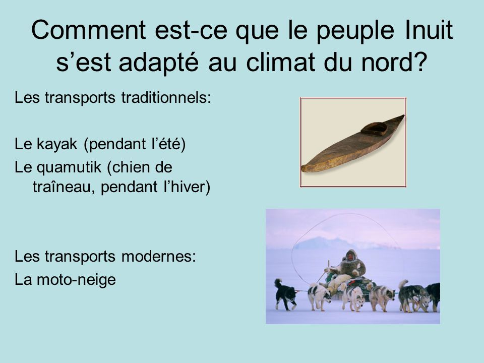 Comment est-ce que le peuple Inuit s'est adapté au climat du nord