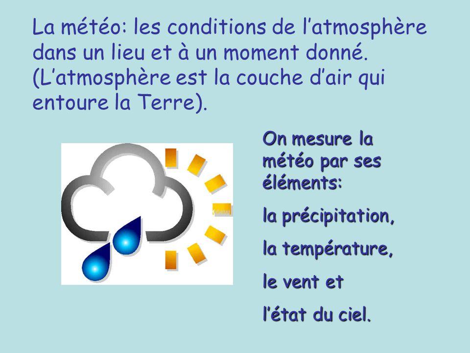 La météo: les conditions de l'atmosphère dans un lieu et à un moment donné. (L'atmosphère est la couche d'air qui entoure la Terre).
