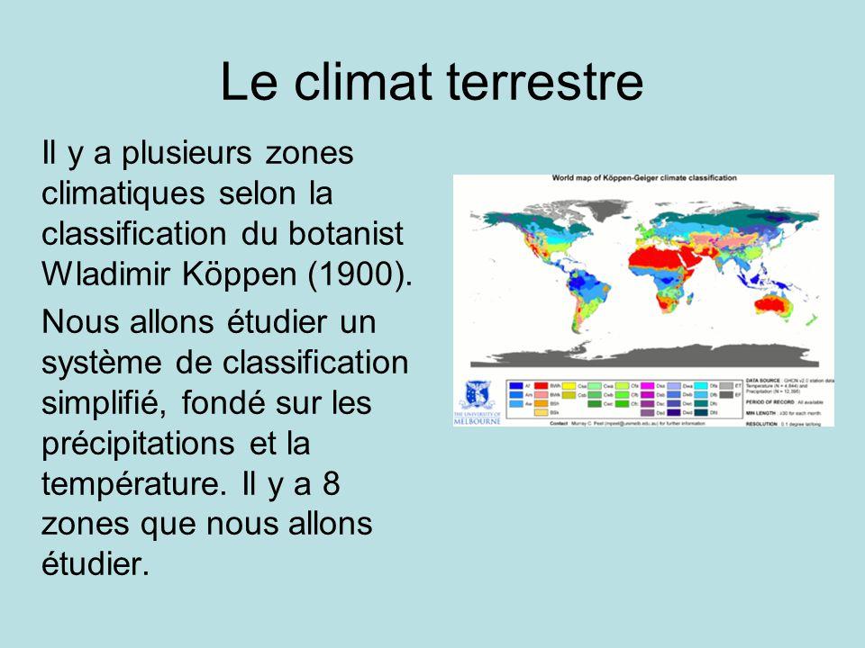 Le climat terrestre Il y a plusieurs zones climatiques selon la classification du botanist Wladimir Köppen (1900).