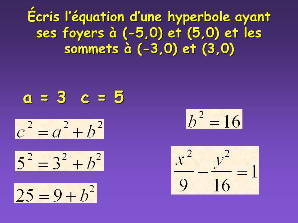 Écris l'équation d'une hyperbole ayant ses foyers à (-5,0) et (5,0) et les sommets à (-3,0) et (3,0)