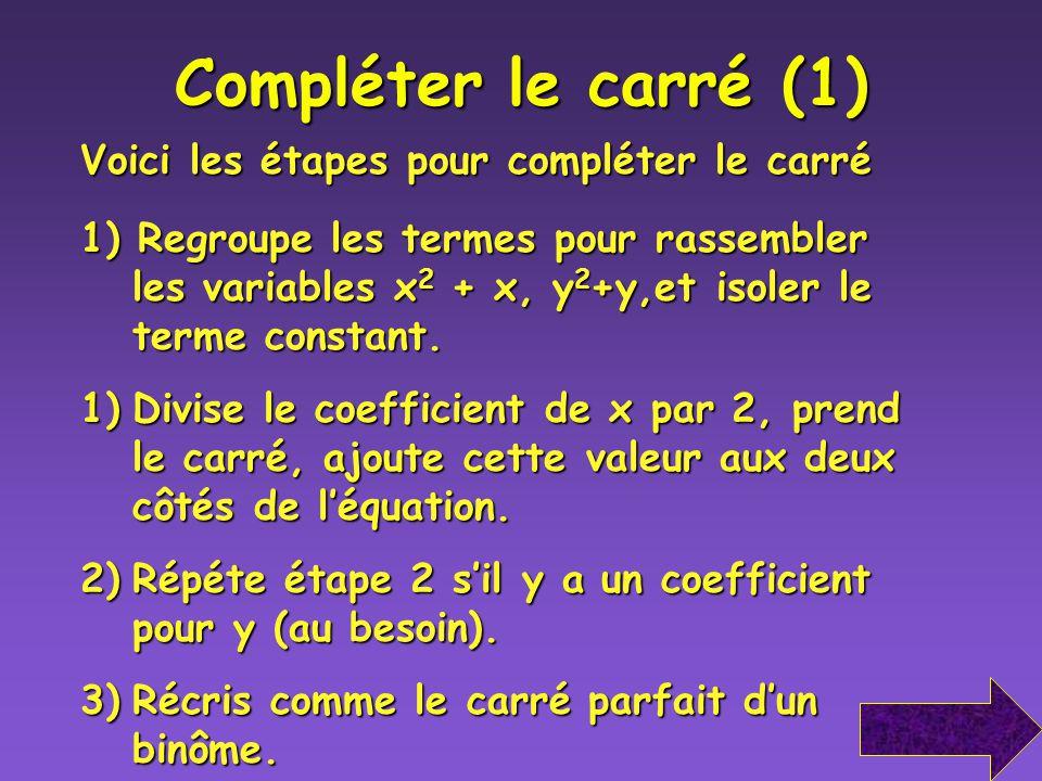 Compléter le carré (1) Voici les étapes pour compléter le carré