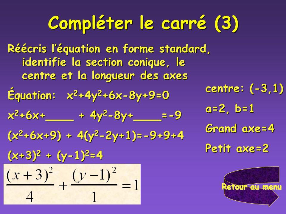 Compléter le carré (3) Réécris l'équation en forme standard, identifie la section conique, le centre et la longueur des axes.