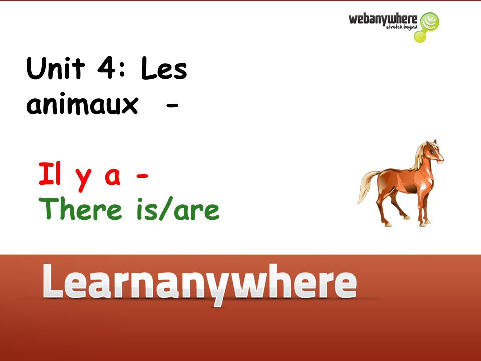 Unit 4: Les animaux - Il y a - There is/are Unit 4: Les animaux