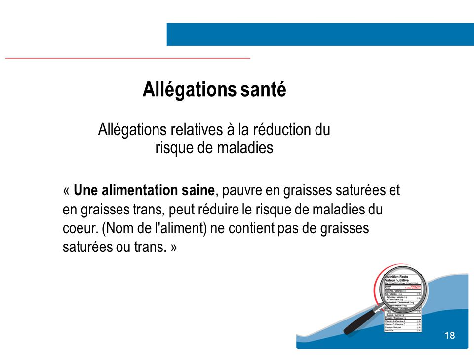 Allégations relatives à la réduction du