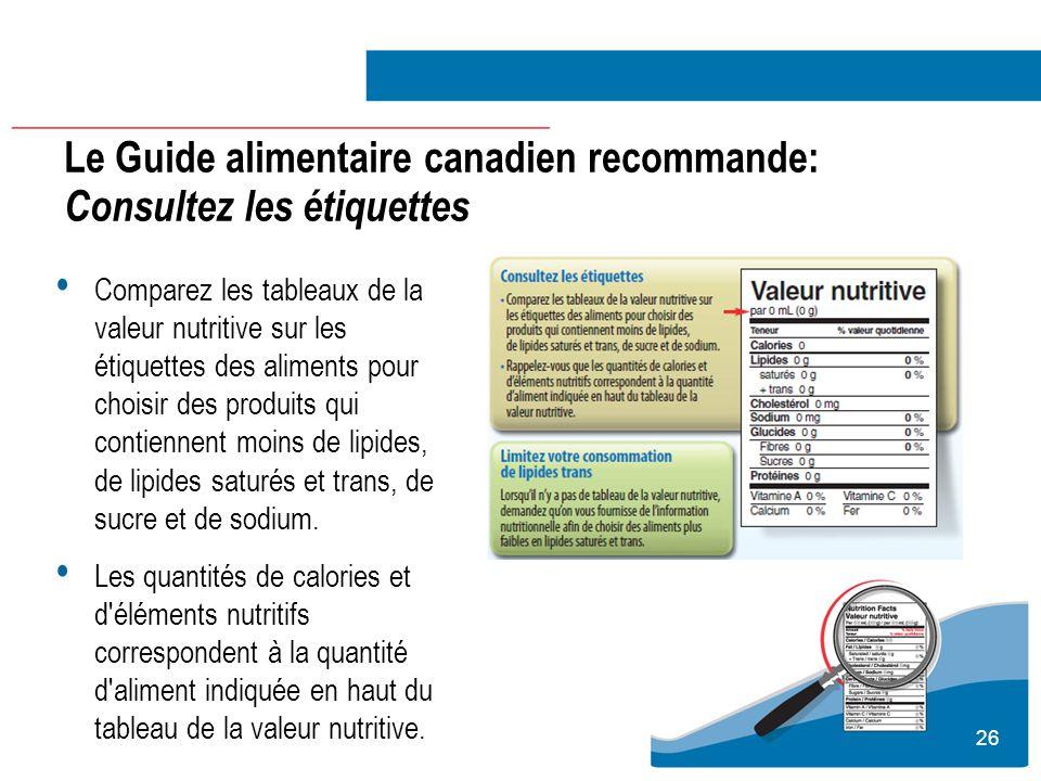 Le Guide alimentaire canadien recommande: Consultez les étiquettes