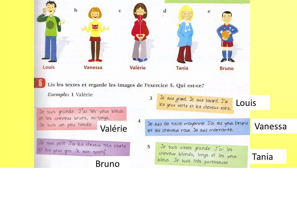 Louis Vanessa Valérie Tania Bruno gris bleus roux petit bleus longs
