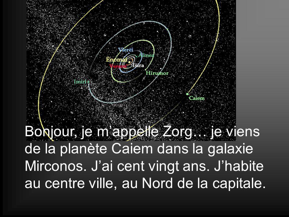 Bonjour, je m'appelle Zorg… je viens de la planète Caiem dans la galaxie Mirconos.