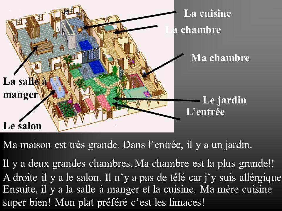 La cuisine La chambre. Ma chambre. La salle à manger. Le jardin. L'entrée. Le salon. Ma maison est très grande.