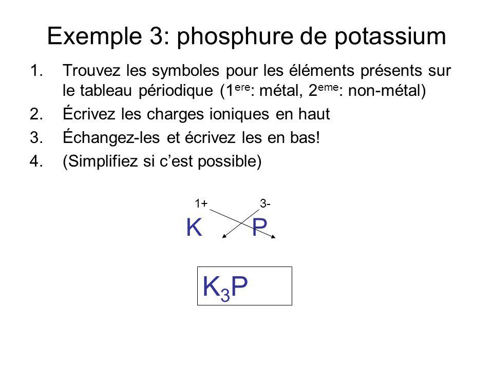 Exemple 3: phosphure de potassium
