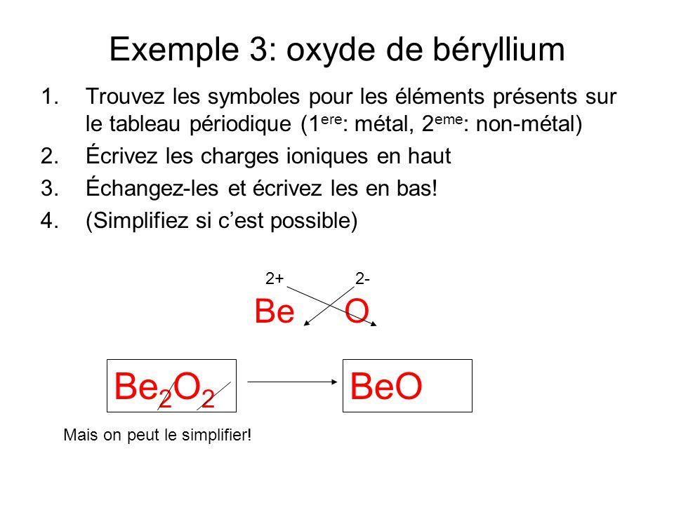 Exemple 3: oxyde de béryllium