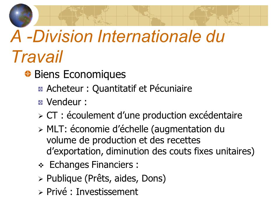 A -Division Internationale du Travail