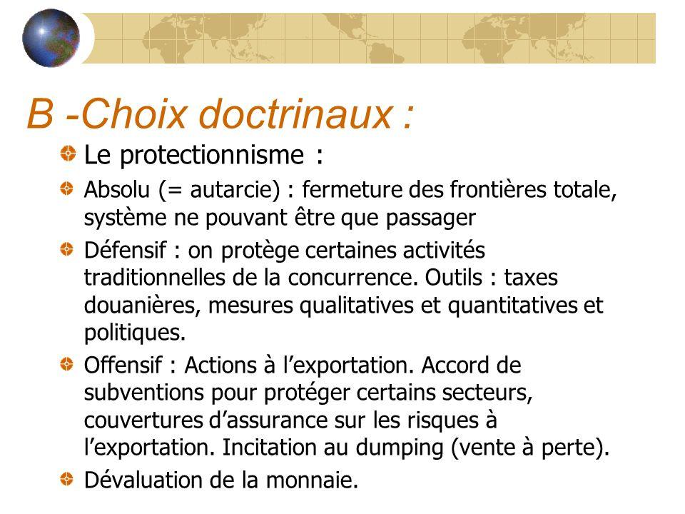B -Choix doctrinaux : Le protectionnisme :