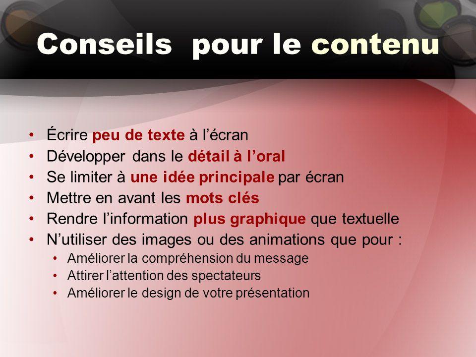 Conseils pour le contenu