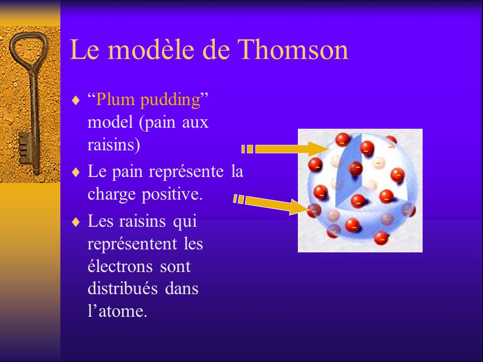 Le modèle de Thomson Plum pudding model (pain aux raisins)