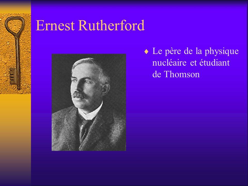 Ernest Rutherford Le père de la physique nucléaire et étudiant de Thomson. -grad student of Thomson.