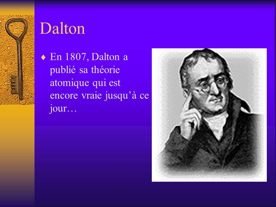Dalton En 1807, Dalton a publié sa théorie atomique qui est encore vraie jusqu'à ce jour…