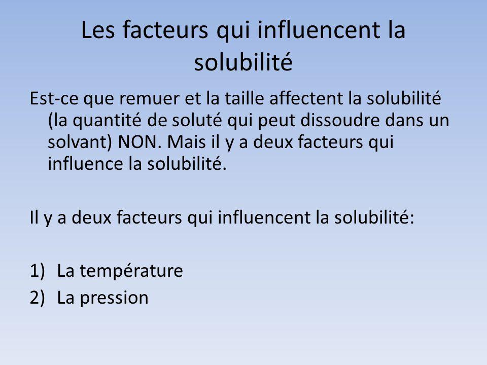 Les facteurs qui influencent la solubilité