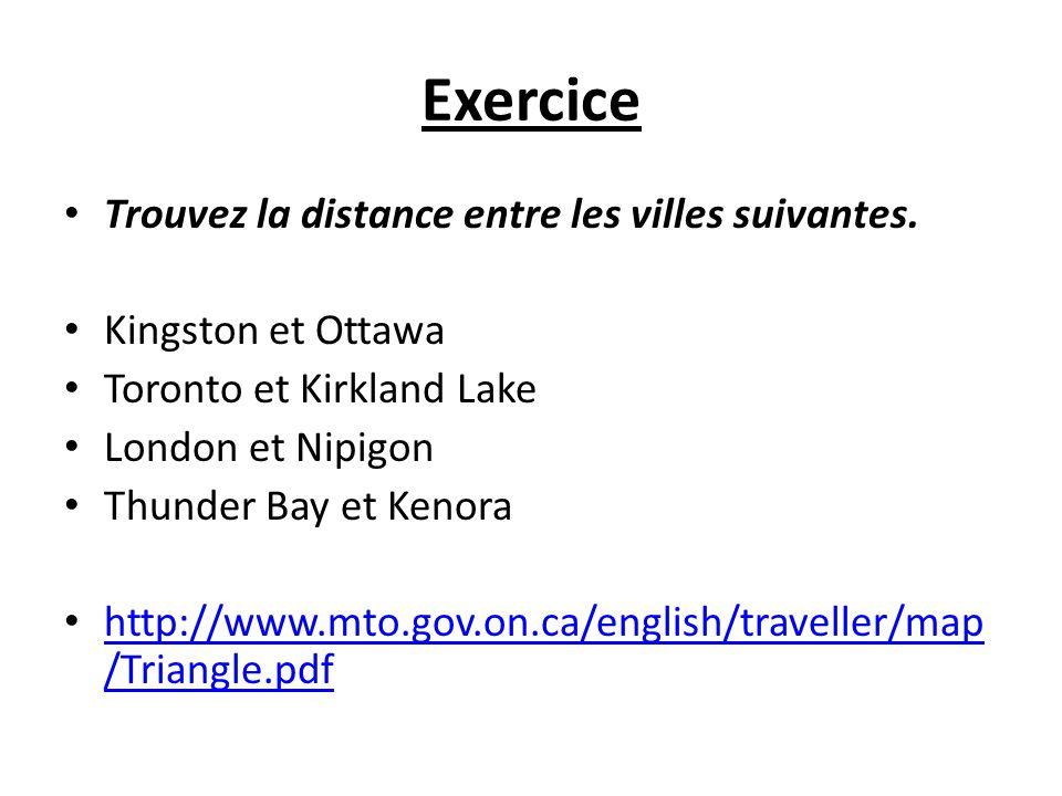 Exercice Trouvez la distance entre les villes suivantes.