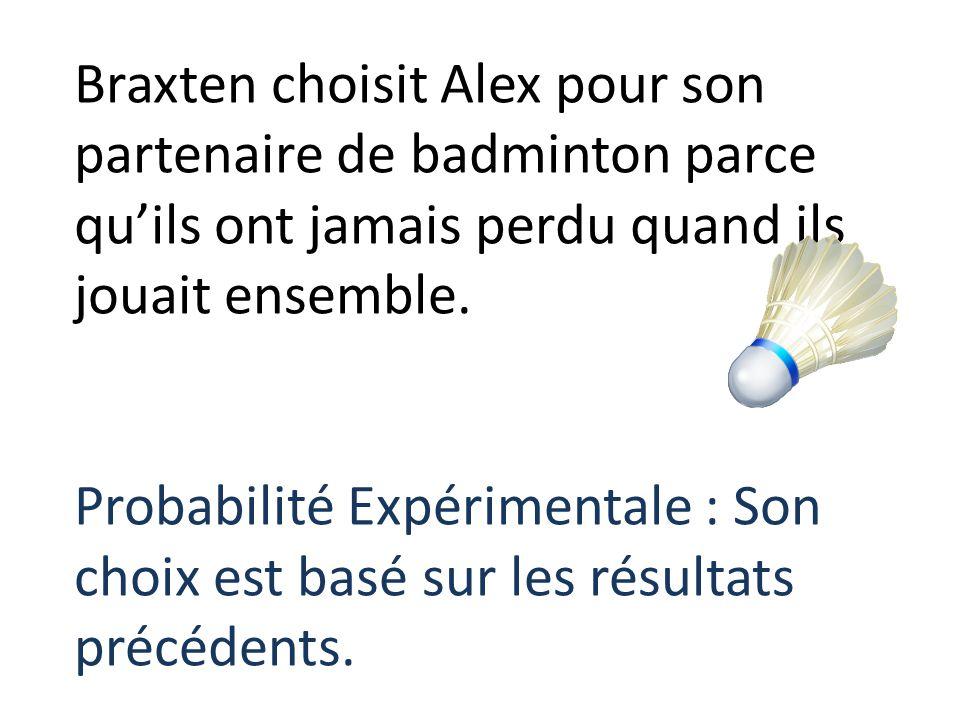 Braxten choisit Alex pour son partenaire de badminton parce qu'ils ont jamais perdu quand ils jouait ensemble.