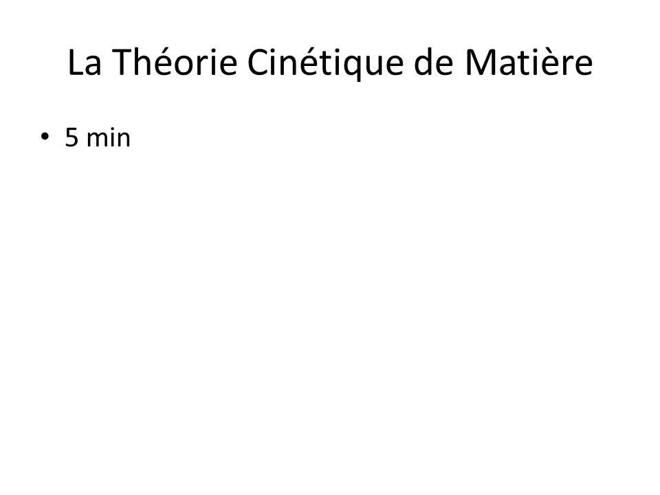 La Théorie Cinétique de Matière
