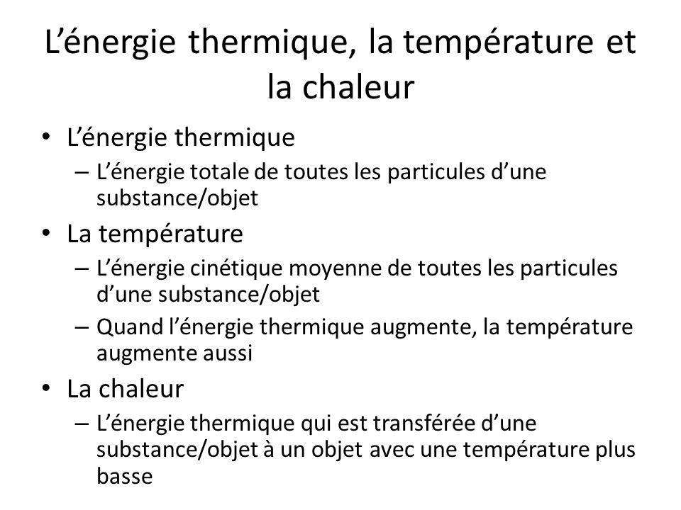 L'énergie thermique, la température et la chaleur