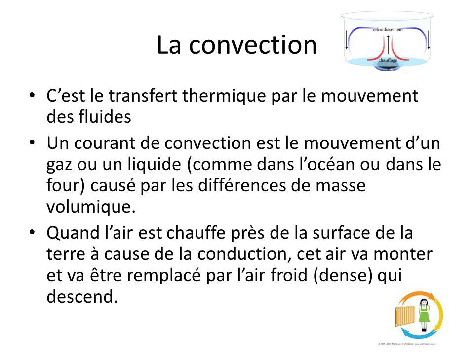 La convection C'est le transfert thermique par le mouvement des fluides.