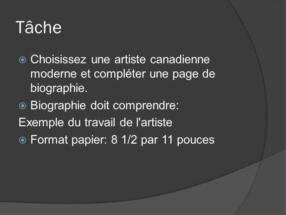 Tâche Choisissez une artiste canadienne moderne et compléter une page de biographie. Biographie doit comprendre: